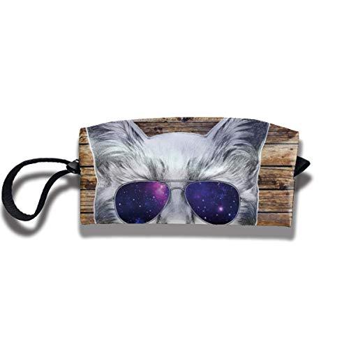Pencil Bag Kosmetiktasche Katze mit Brille Tolietry Bags Damen Kosmetiktasche Multifuncition Zipper