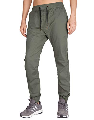 ITALY MORN Pantalón para Hombre Casual Chino Jogging Algodón Slim Fit 20 Colores S, Gris Verde