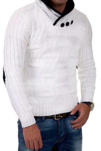 Tazzio pull en tricot col châle 3980 Blanc