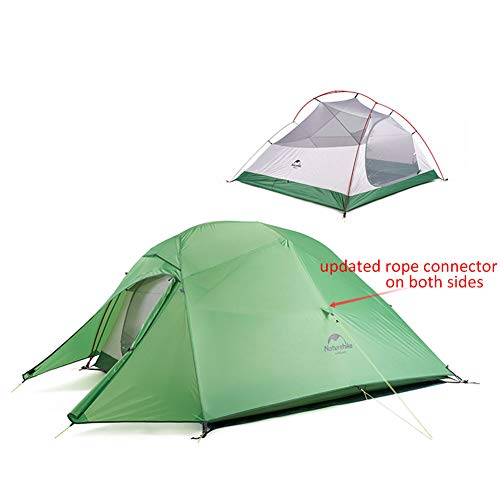 Naturehike Cloud-up 3 Ultraleichtes Campingzelt für 3 Personen - Wasserdichtes Doppelschicht Backpackingzelt 4 Seasons(Grün)