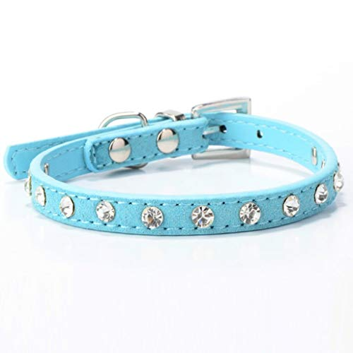 LOSVIP Haustier Lieferungen 2019,Strass verstellbare Leder Hund Welpe Katze Halsbänder Halskette(Blau,37x1.5cm)