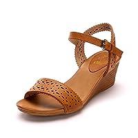 Alexis Leroy Hollow Out Open Toe Buckle Women Wedge Sandals Camel 6 UK / 39 EU