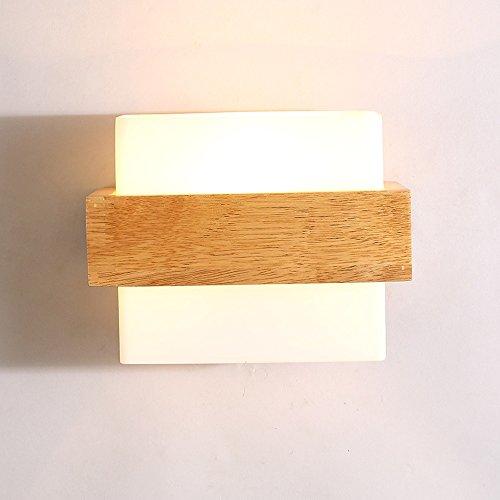 Pumpink Kreatives Quadrat Umweltschutz Massivholz Wandleuchte Modernes einfaches Wohnzimmer-Gang-Balkon-Lampe führte hölzernes Schlafzimmer-Bett-Kopf-Wand-Sconce-japanische Wand-Lampe (Hölzerne Lampe)