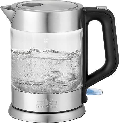 Silva Homeline KL-G 2005 Edelstahl-Glas-Wasserkocher 2200W mit Kontrollleuchte 1.5L Abschaltautomatik