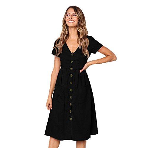 ALAIX Damen Elegantes V-Ausschnitt Kleid Kurzärmeliges Freiteit Sommerkleider für Damen Schwarz-XL