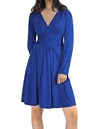 HENCY Womens Summer Autumn Dress V Neck Short / Long Sleeve Plain Dress, Elegant Empire Waist Pleated…