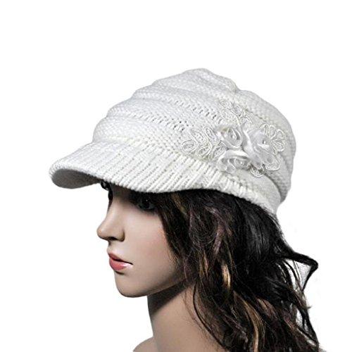 VJGOAL Damen Caps, Damen Koreanische Version Wintermütze mit Warmer Krempe Paillettenapplikation und Wollmütze mit Flutstrick