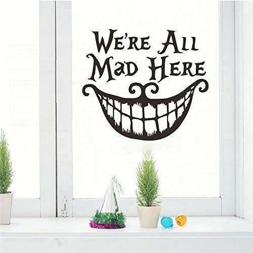 Halloween Christmas Decor Wandaufkleber Abziehbilder Wir sind alle hier wütend Vinyl Zitate Aufkleber lustiges Lächeln Gesicht großen Mund Dekor (Halloween Weiße Gesicht Malen)