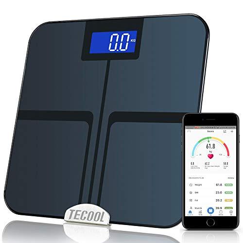 TECOOL Körperfettwaage,Digitale Personenwaage Waage Bluetooth Körperwaage mit APP BMI Body Composition Analyzer mit für iOS-Android-Geräte, Elegantes Schwarz