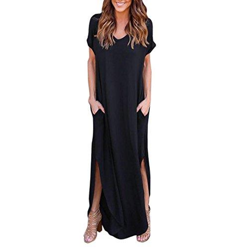 Hippie Boho Maxi (Einfache T-Shirt Kleid,ZEZKT Hippie Boho Damen Sommer Casual Loose Lange Kleid Kurzarm Split Maxi Kleid (Schwarz) (XL))