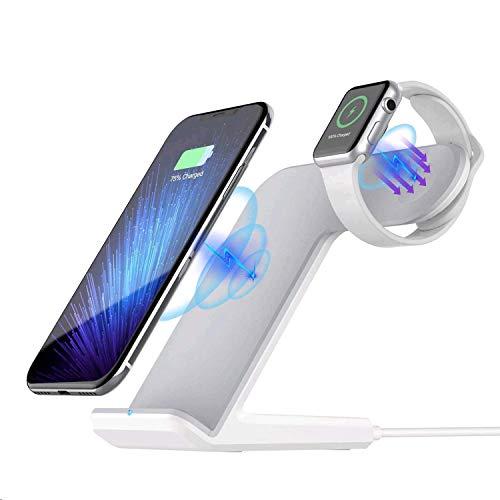 Sararoom 2 in 1 Wireless Charger kabellos Ladegerät Schnellladestation Kompatibel für iPhone XS Max/XR/X/8 Plus Galaxy S9/S8/S7 Edge Apple Watch 4/3/2/1 Weiß