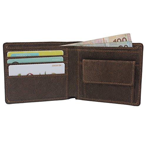Vegane Geldbörse von boshiho RFID-Kork schmale Geldbörse mit Münzfach Vegan Geldbörse Umweltfreundlich Geschenk für Herren und Damen, Braun - dunkelbraun - Größe: One Size (Fall Tan-leder-karte)