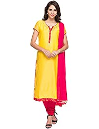Kashish By Shoppers Stop Womens Notched Neck Solid Kurta And Churidar Set