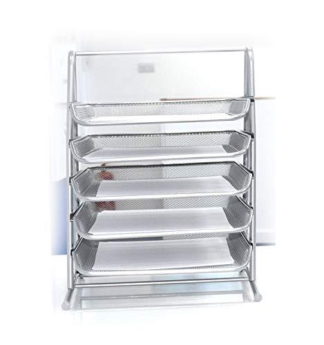 Portadocumenti per ufficio a 5 ripiani in rete metallica argentata, organizer per documenti in formato A4, lettere, fogli Silver