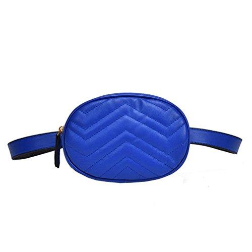 VJGOAL Damen Bauchtasche, Damen Mode Solide Reine Farbe Leder Messenger Schulter Urlaub Arbeit Brust kleine Taschen (Blau)