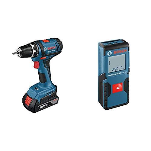 Bosch GSR 18-2 LI Professional Avvitatore a Batteria, Batterie 2 x 1.5 Ah, 18 Volt, Viti Max.7 mm, i + Bosch Professional 0601072500 GLM 30 Distanziometro Laser, Nero/Blu