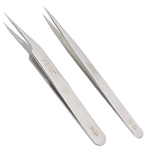 FEITA - Pinzas de precisión de acero inoxidable con punta recta y inclinada para extensiones de pestañas, manualidades, joyas, cejas y depilación encarnada (SS&5A-SA, 2 unidades)