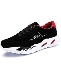Yajie-shoes Zapatos atléticos para Hombres Zapatos Deportivos para Exteriores con Cordones (Color : Black Red,…