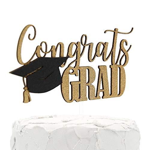 nanasuko Graduation Party Cake Topper, Congrats Grad-PREMIUM QUALITÄT Made in USA-doppelseitig Gold Glitter mit GAP Verzierung (Den In Partei Usa)