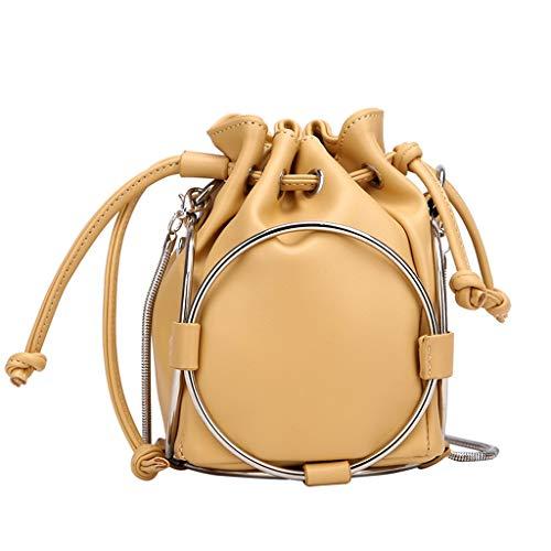 ODJOY-FAN Damen Umhängetasche Kuriertaschen Beuteltaschen Handtasche Kette Tasche Runde Tasche Einfarbig Leder(Gelb,1 PC)