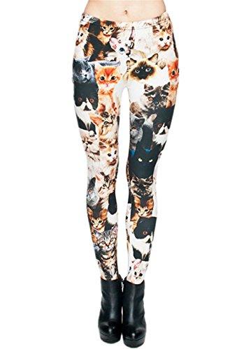 CHIC DIARY Damen bunt Sport Strumpfhose Leggings mit muster Fitness Yoga Joggen Pants Hose Mehrfarbig One size (#20731)