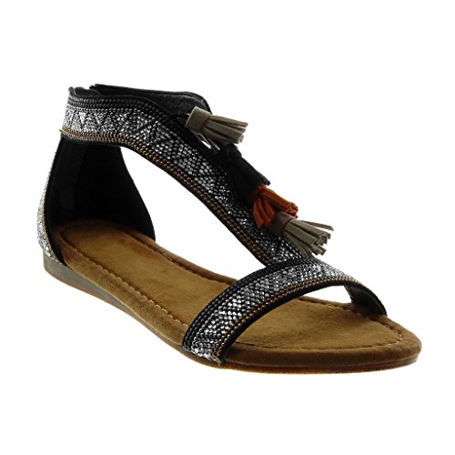 Angkorly Chaussure Mode Sandale Folk Salomés Femme Strass Diamant Pom-Pom Frange Talon Compensé 1.5 CM Noir