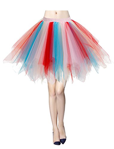 Gardenwed Damen Tutu Tüllrock Reifrock 50er Rockabilly Kurz Ballet Tanz Rock Blue-Champagne-Red XL