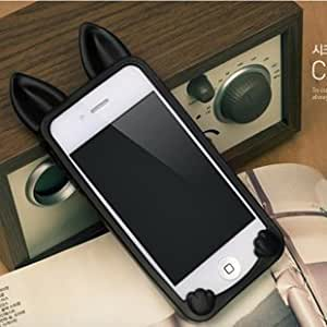 Coque iPhone 4 /4S Chat silicone noir