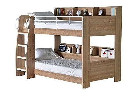 Happy Beds Domino Oak Wooden and Metal Kids Storage Bunk Bed with 2x Memory Foam Mattress 3' Single 90 x 190