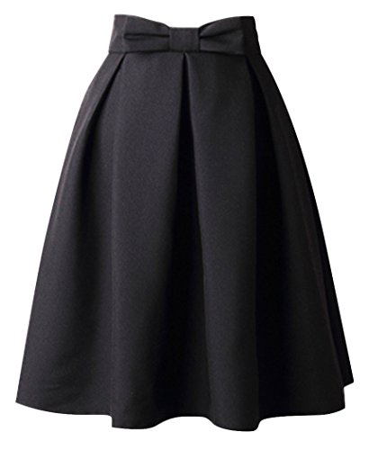 Uideazone Fashion Damen A Line Skirt Hohe Taille Swing Büro Rock Schwarz,Asian M = EU 36