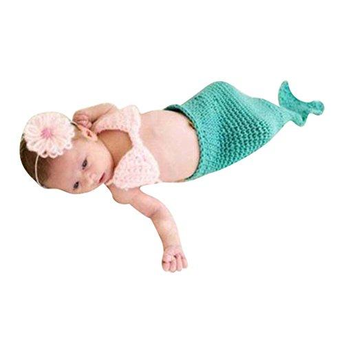 Deylay Foto Fotografie Prop Baby Kostüm grüne Meerjungfrau häkel Stricken Handarbeit