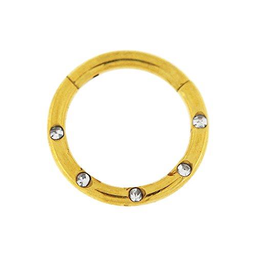 14 Gauge - 10 MM Länge Gold eloxiert Chirurgenstahl 5 Kristallsteinen gepflastert klappbar Segment Nase Ring Septum Piercing
