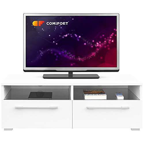 Comifort TV81B – Mueble TV Salón Moderno Mesa Televisión, Color Blanco, 100x46x35 Cm (Blanco)