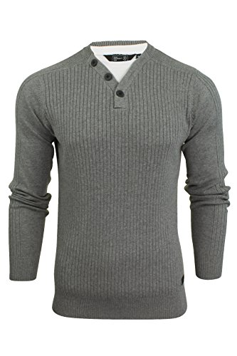 Mens Ribbed Jumper by Dissident with T-Shirt Trim (Mid Grey Marl) L