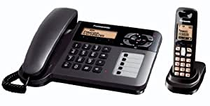 Panasonic KX-TG6461ET DECT Corded and Cordless Phone Set With Answer Machine - Black
