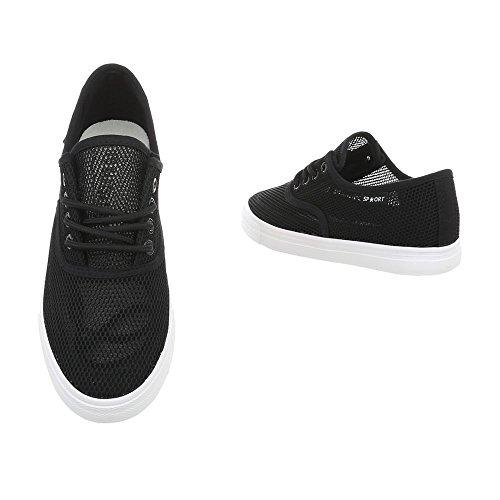 Ital-Design Sneakers Low Damenschuhe Sneakers Low Sneakers Schnürsenkel Freizeitschuhe Schwarz