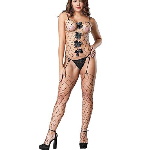 Damen Stretch Fischnetz Bodystocking Geöffneter Schritt Nahtlos Strumpfhalter Bogenknoten Sexy Bodysuit Dessous Einheitsgröße -