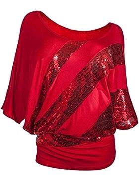 PAOLIAN Mujer Verano Rayas Camiseta Sexy Lentejuelas del Murciélago Suelto Camiseta Cuello Redondo Suelto Blusas...