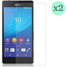 (Pack de 2 unid) Protector de pantalla Cristal templado para Sony Xperia M4 Aqua Calidad HD, Grosor 0,3mm, Bordes redondeados 2,5D, alta resistencia a golpes 9H. No deja burbujas en la colocación (Incluye instrucciones y soporte en Español)