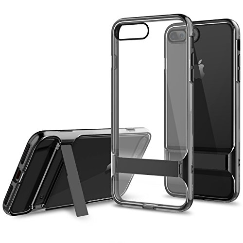 ROCK Royce Active Serie iPhone 8/7 Plus Hülle, Transparente Handy-Abdeckung mit Kickstand, PC + TPU Alle Runde Schutzmaßnahmen Stoßstange für Apple iPhone 7 Plus(5.5inch) - Schwarz (Active Rock)