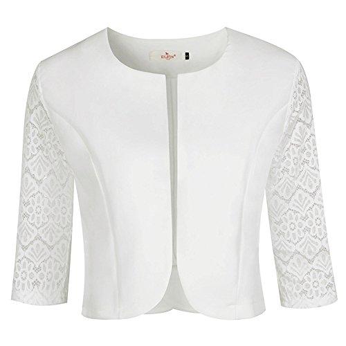 Weiße Blazer Kostüm - ELFIN Damen Eleganter Blazer festlich Kurz Bolero Jacke kragenlos Spitzen Jäckchen 3/4 Arm, Elfenbein - XL