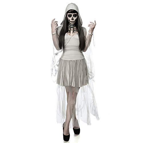 Geist Göttin Kostüm - MIAO Halloween Kostüm Erwachsene Cosplay Zombie Kostüm Weibliche Geist Braut Kostüm Hell Göttin Maskerade Kostüm Geeignet Für Karneval Thema Parteien,White,OneSize