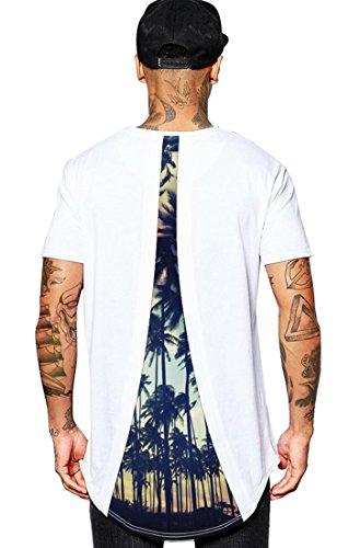 Sommer Shirts für Männer Hipster Hip Hop Grafik Print Longline Crewneck T-Shirt -