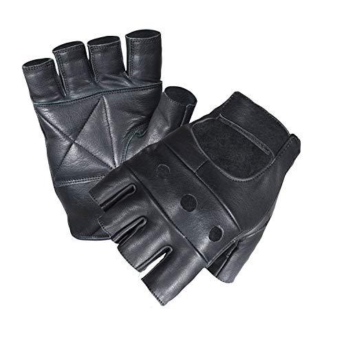 Erstklassiges Leder Echte Weiche Qualitätsleder Handschuhe Ohne Finger Für Gewichtheben Fahrrad Fahren Rollstuhl Fitnessstudio etc. Medium -