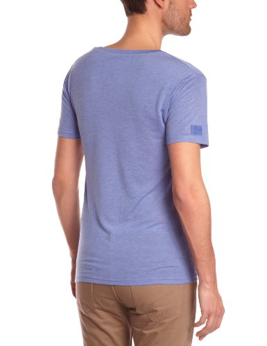 Eleven Paris Herren T-Shirt L2 BASIC LARGE NECK SS, Einfarbig Blau - Blau (M118 Azur meliert)