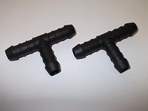 2 x 10 mm 3/20,3 cm Plastique barbelé Raccord en T Raccord de tuyau en plastique Noir cannelé Eau carburant étang Aquarium Tube d'air