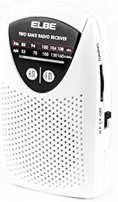 Elbe RF-50 - Mini radio de bolsillo AM / FM, color blanco