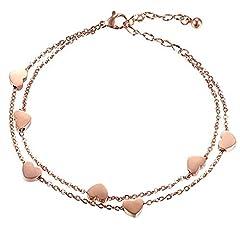 Idea Regalo - Keybella Product Name Bracciale Braccialetto Donna Bracciale Acciaio Inox Cuore,Colore a Scelta (Rose Gold)