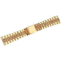 ygdz 20mm Armband Edelstahl Watch Band Gurt gerade Ende Solide links Farbe Gelb Gold