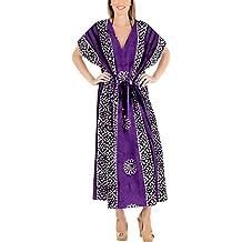 977f1760c97a9 LA LEELA Mujeres Caftán Algodón túnica Batik Kimono Libre tamaño Largo Maxi  Vestido de Fiesta para
